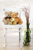 Two in love teddy bears sit on a chair. Wedding  concept — Stock Photo