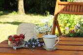 Coffee in the garden in summer time — Stock Photo