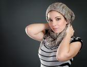 Beautiful woman portrait with scarf — Stock Photo