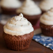 Chocolate cupcakes with cream cheese frosting — Stock Photo #64100151