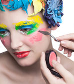 Beauty Girl With Material Flowers.Beautiful Model Woman Face. Perfect Skin. Professional Make-up.Makeup. Fashion Art — Stock Photo