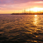 Sunset over Nikiti port — Stock Photo #67957211