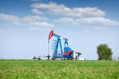 Oil pump jack on field — Stock Photo