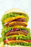 Big hamburger closeup fast food — 图库照片