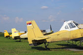 Crop duster airplanes on airfield closeup — Stock Photo