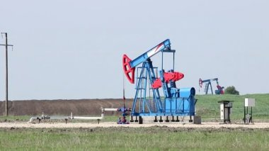 Two oil pump jack on field — Vídeo de stock