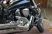 Power chrome motorcycle engine closeup — Stock Photo