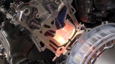 Cat hybrid engine valves work — Stock Video