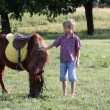 Boy and pony horse — Stock Video #56707953