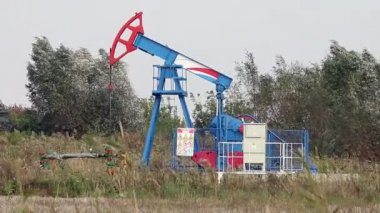 Oil pump jack on windy field — Stok video
