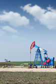 Two oil pump jack on oilfield — Stock Photo