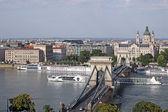Cruiser under Chain bridge Budapest — Stock Photo
