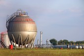 Refinery oil tank industry zone — Stock Photo