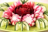 Cucumber beet and radish decorated salad like flower — Stock Photo