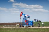 Two pump jack oil industry — Stock Photo