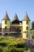 Yellow castle with pond Eastern Europe Serbia — Stock Photo