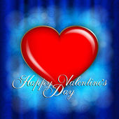 Valentines Day - red heart on blue abstract background — 图库矢量图片