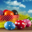 Colored Easter eggs on the grass and blue sky background — Stock Photo #67309397