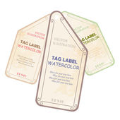 Watercolor tags label. Vector illustration. — Cтоковый вектор