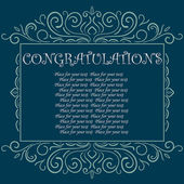 Vector vintage Congratulations card — Stock Vector
