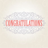 Vector vintage Congratulations card — Stock Vector