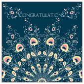 Congratulation card with  peacock feathers — Stock Vector