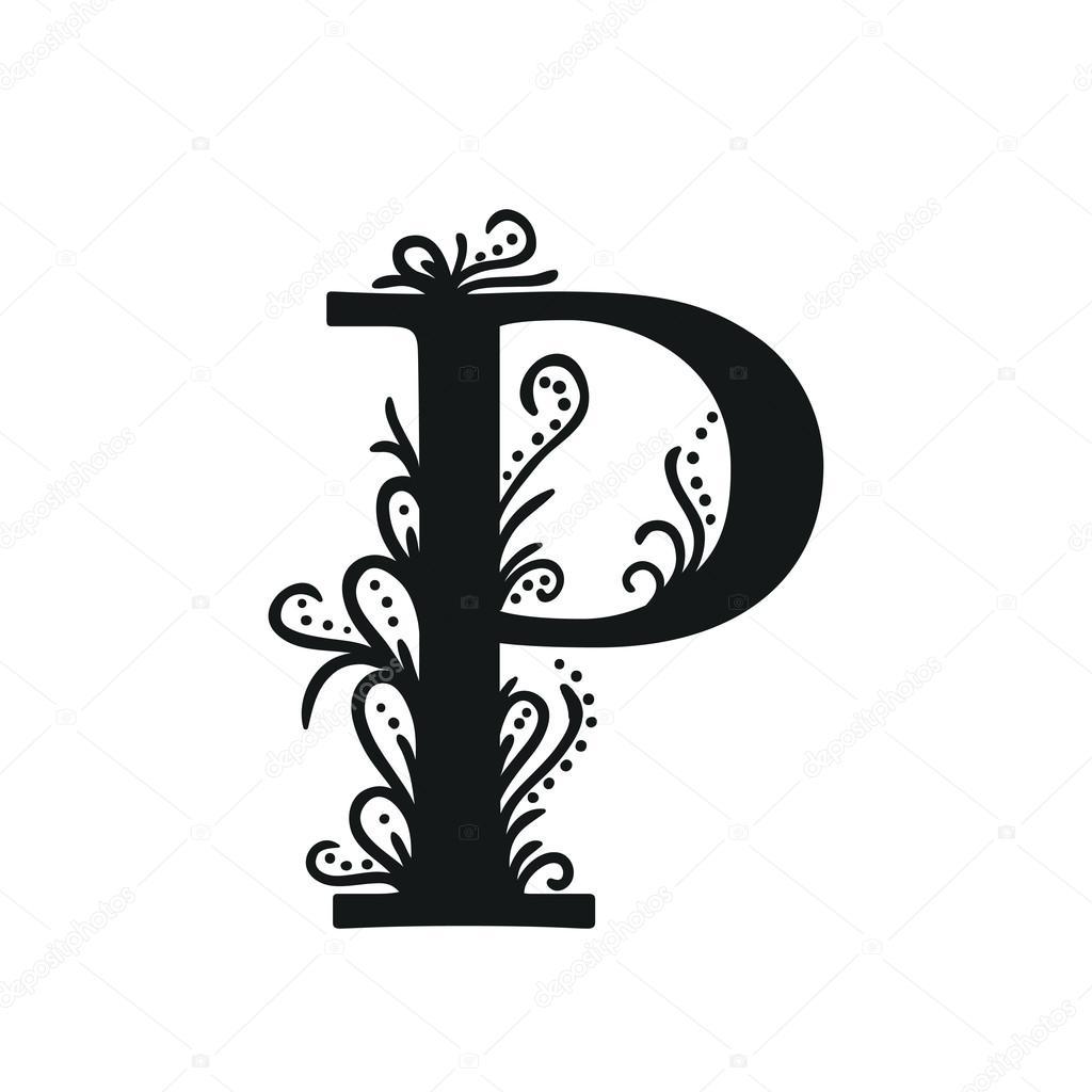 Stylized Calligraphic P Stock Vector Ollevita 55385789