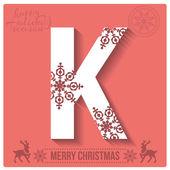 Christmas  alphabet K — Stockvector
