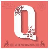 Christmas  alphabet Q — Stock Vector