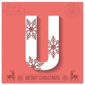 Christmas  alphabet U — Stockvector