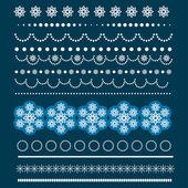 Christmas Borders with Snowflakes. — Stock vektor