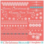 Christmas Borders with Snowflakes. — Vector de stock
