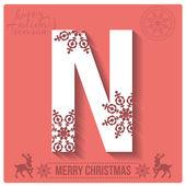 Christmas  alphabet N — Stockvector