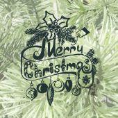 Christmas frame on spruce — Stock Vector