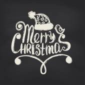 Merry Christmas on blackboard background. — Vector de stock