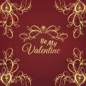 Valentine gold pattern — Stockvector