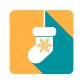 Flat Christmas icon sock. — Stock Vector