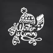 Winter is coming on blackboard — Stock Vector