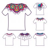 T-shirt with doodle ornament — Stockvektor
