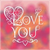 Love you text on blurred background — Stockvektor