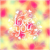 Love you text on blurred background — Stock Vector
