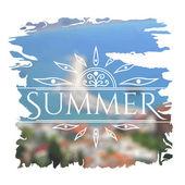 Summer  lettering on unfocused sea — Stock Vector