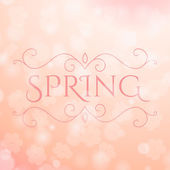 Spring is lettering on blurry background — Stock Vector
