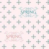 Vintage floral pattern with spring lettering — Stockvector