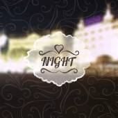 Night lettering on city background — Stock Vector