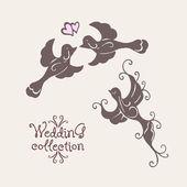 Wedding collection. Wedding doves — Stock Vector