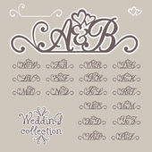 Initials of Bride and Groom — Stock Vector