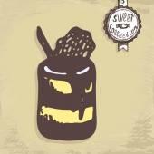 Tasty chocolate cake — Stock Vector