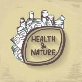 Logo de la santé et de la Nature avec des bouteilles. — Vecteur
