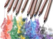 Picture drawn with crayons — Stock Photo